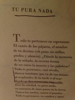 Tu pura nada. Giovanni Quessep. Ediciones Tragaluz.Leído mayo 2013