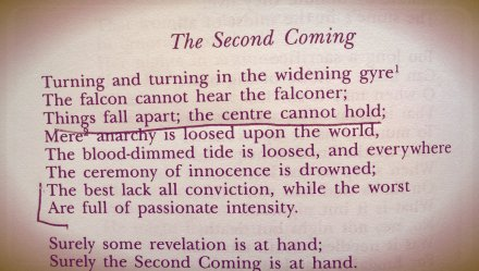 The Second Coming, William Butler Yeats. Read Miami, 1998