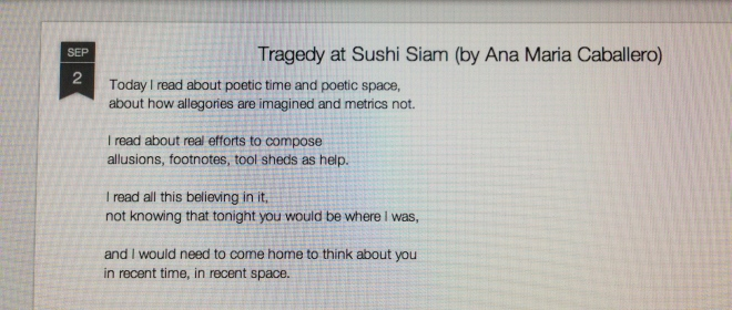 Tragedy at Sushi Siam Poetry Writing Reading Books Ana Maria Caballero