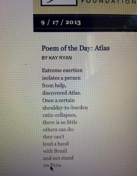 Atlas Kay Ryan Poetry Literature