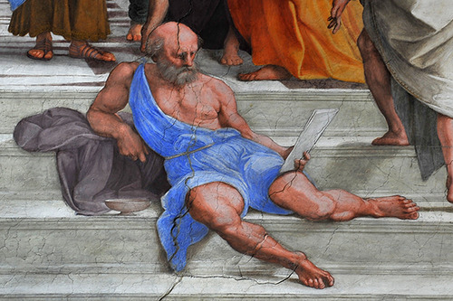"This outtake from Raphael's ""School of Athens"" shows Diogenes philosophizing at ease."